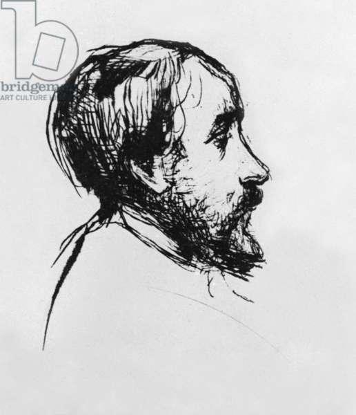 Edgar Degas (1834-1917) French painter, engraving by Marcellin Desboutin
