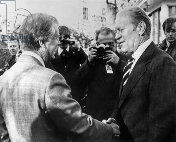 Jimmy Carter and Gerald Ford at White House in Washington March 24, 1977