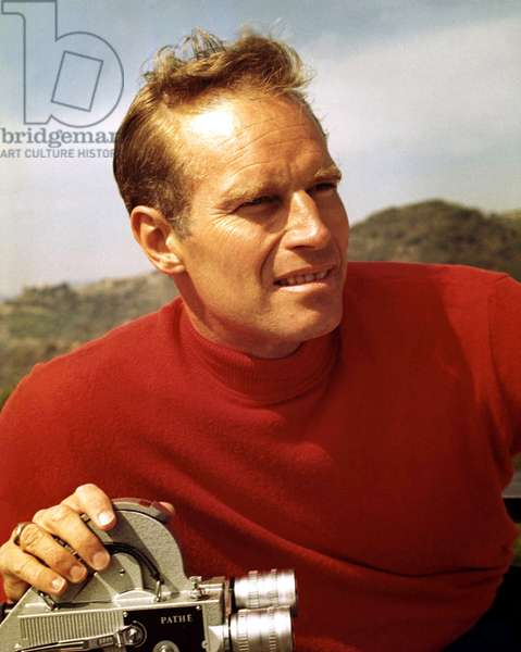 American Actor Charlton Heston with a camera movie c. 1965