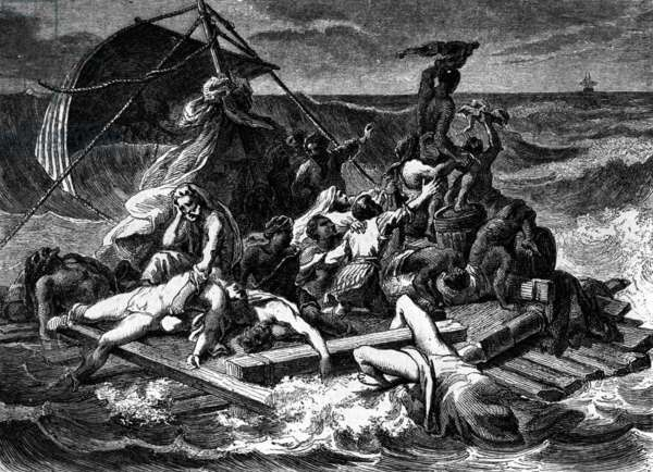 The Raft of the Medusa after the painting of Gericault (engraving)