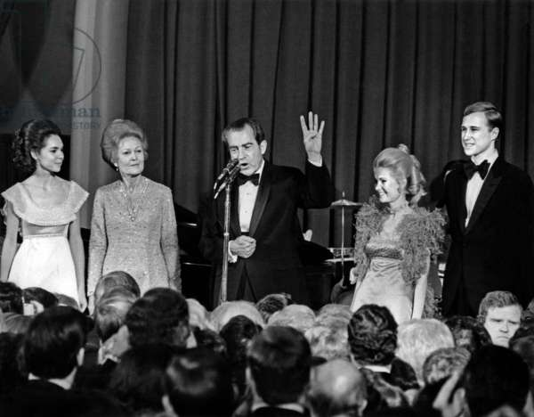 American President Richard Nixon with his family at a ball for beginning of his 2nd term of office on January 20, 1973 in Washington