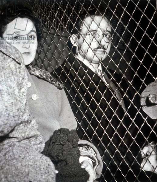 Ethel and Julius Rosenberg leaving the law courts (guilty of treason) in March 1951 (communists, condemned for spying and executed in 1953)