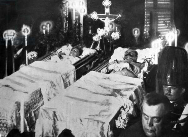 Wake of the bodies of Duc Francois Ferdinand of Habsburg and his wife Sophie Chotek, after the attack in Sarajevo 1914