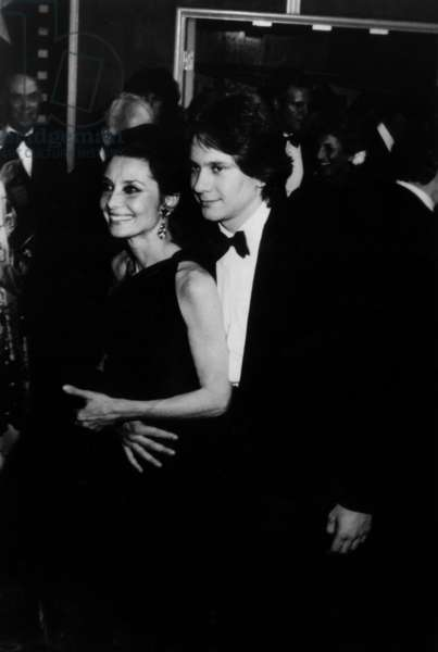 Audrey Hepburn with her son Sean Ferrer Ferrer at American Film Institute party in Hollywood, April 1981