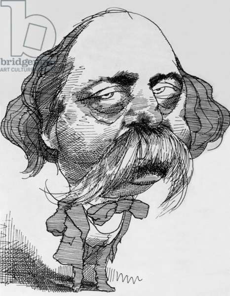 Gustave Flaubert (1821-1880) French writer, caricature by David Levin