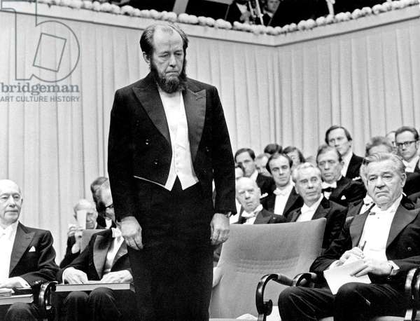 Alexander Solzhenitsyn (1918-2008) receiving the Nobel prize in Stockholm Sweden December 10, 1974