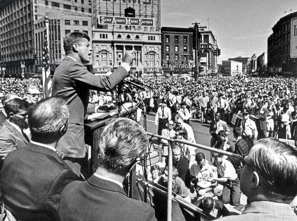 Senator John Kennedy democratic party candidate for the American presidency addresses a labor day rally in Cadillac Square in Detroit, Michigan, September 5, 1960 during Presidential campaign