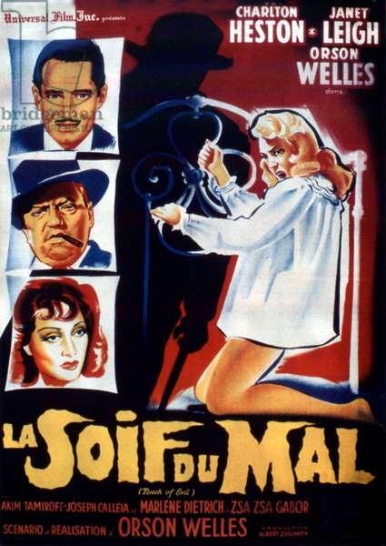 Affiche du film TOUCH DU EVIL de OrsonWelles avec Charlton Heston, Janet Leigh, Orson Welles, 1958