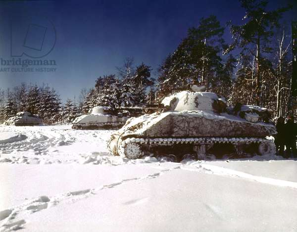 American Sherman tanks in front of Saint Vith during the battle of the Bulge, winter 1944-1945