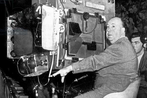 Director Alfred Hitchcock on set of film Under Capricorn 1949