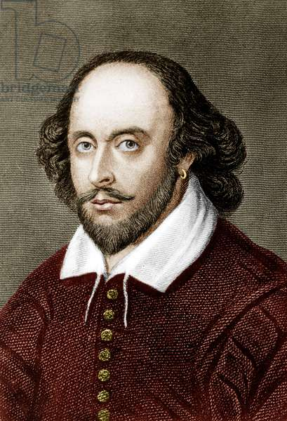 William Shakespeare (1564-1616) English poet and playwright, engraving colourized document