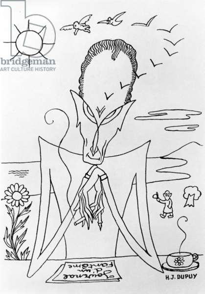 Philippe Soupault (1897-1990) French surrealist poet, drawing by H.J. Dupuy, 1946