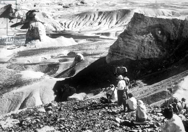 The Filming of 'Lawrence of Arabia' in the Jordanian Desert, 1962 (b/w photo)