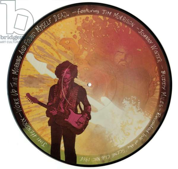 "Vinyl disc of album live in New York by Jimi Hendrix ""Woke up this morning and found myself dead"" 1968"