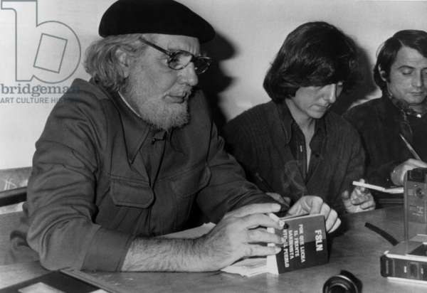 Ernesto Cardenal (l) with the sandinists from Nicaragua , here in Madrid October 07, 1978