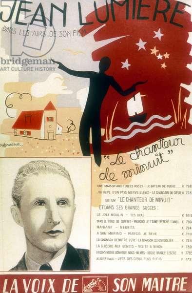 record sleeve for original soundtrack of film Le Chanteur de minuit with Jean Lumiere 1937