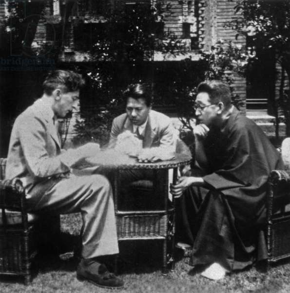 French poet Jean Cocteau in Tokyo with Tokijio Zonai (on the right) 1936