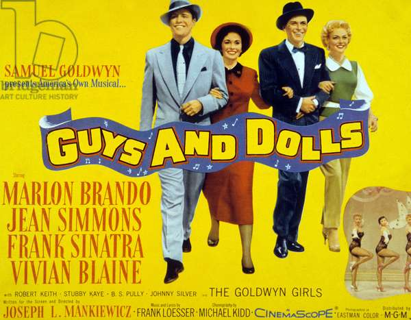 Guys and Dolls, directed by Joseph L. Mankiewicz, starring Marlon Brando, Jean Simmons, Frank Sinatra and Vivian Blaine, 1955