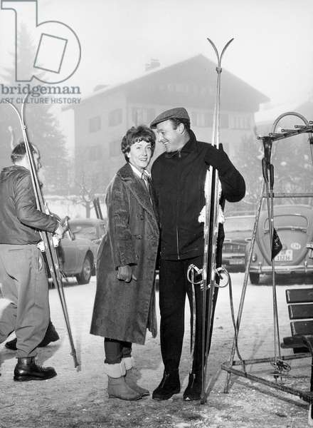 Gene Kelly and his wife during vacations at Klosters January 3, 1961 ski