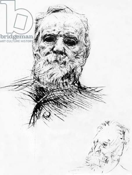 Victor Hugo (1802-1885) French writer, drawing by Auguste Rodin