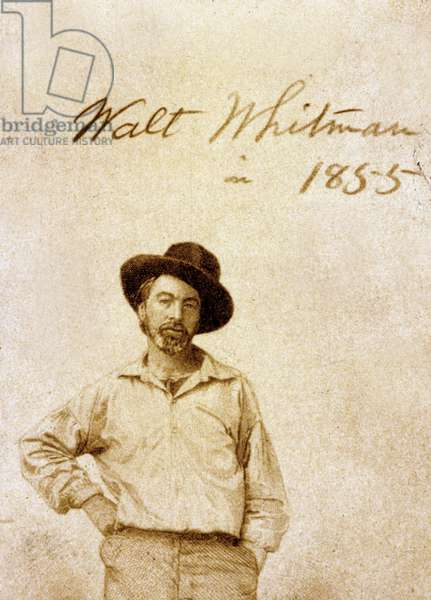 Walt Whitman (1819-1892) American poet and humanist here in 1855