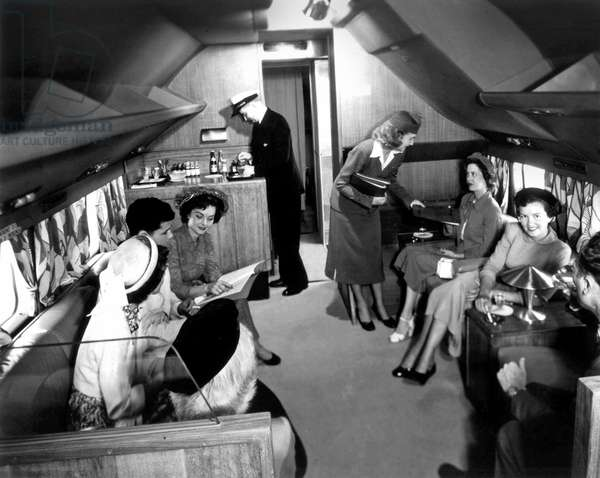 Interior of a Douglas DC6 plane of aerial company Panagra (Pan American Grace Airways) used from 1946