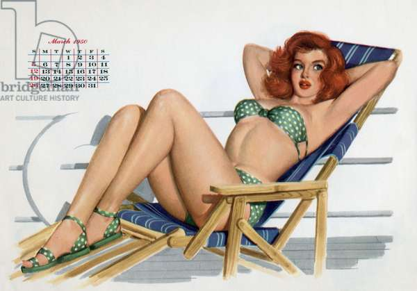 Pin up in bikini on a deckchair on a boat, tanning, from Esquire Girl calendar 1950 (March)