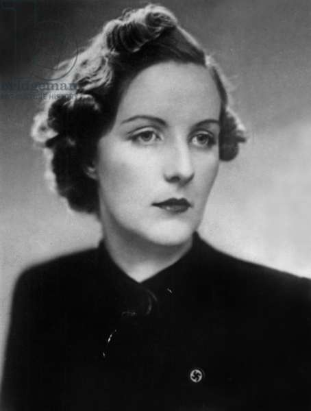Unity Mitford (1911-1948) 4th of the 6 Mitford sisters, she supported nazi party, fervent admirer of AdolfHitler, here in 1939