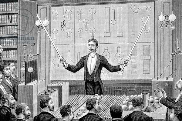 Nikola Tesla (1857-1943) serbian engineer during an experiment about electricity, engraving