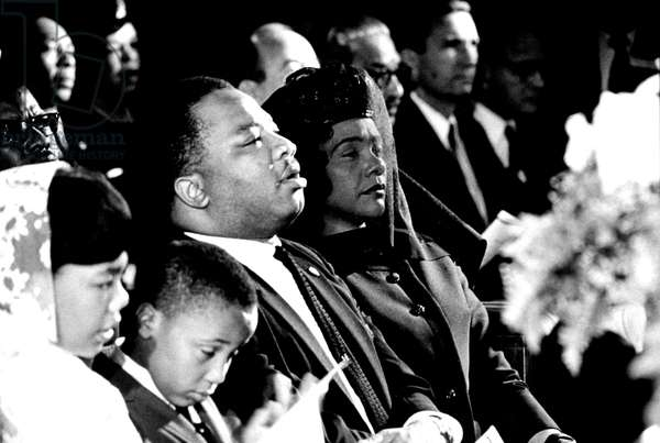 Funerals of Martin Luther King  in Atlanta on April 9, 1968 : his widow Coretta Scott King  withhis brother A. D. King, and her children Yolanda and Martin Luther King  III