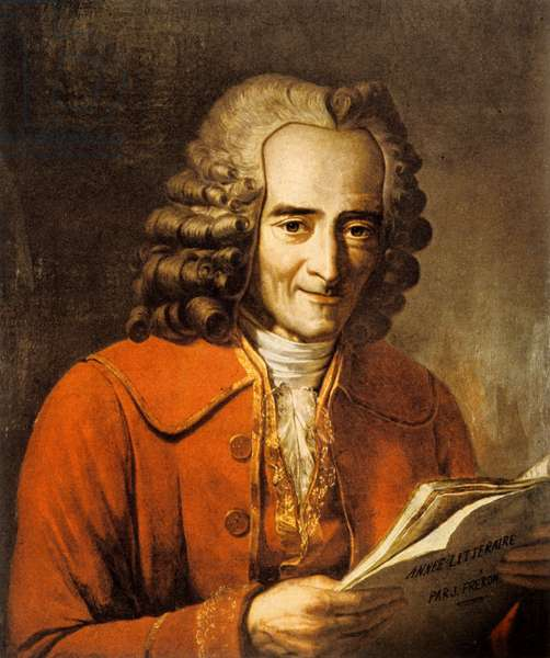 Francois Marie Arouet, dit Voltaire (1694-1778) French writer and philosopher (lithograph)
