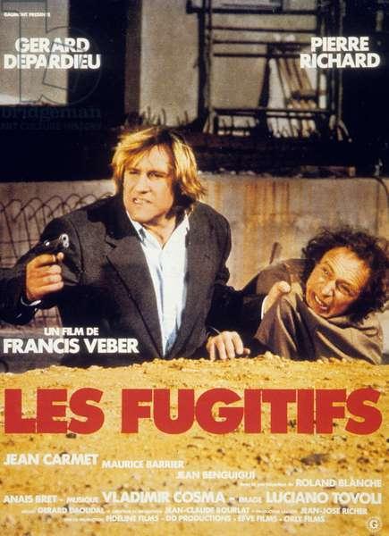 l Affiche du film Les Fugitifs de FrancisVeber avec Pierre Richard et Gérard Depardieu en 1986