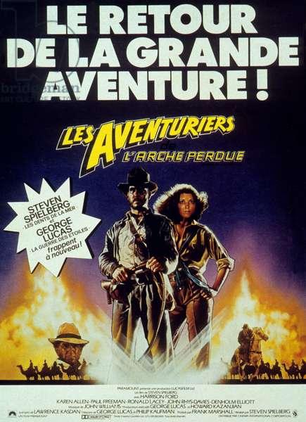 Affiche du film Indiana Jones et les Aventuriers de l'Arche perdue RAIDERS OF THE LOST ARK de Steven Spielberg avec Karen Allen, Harrison Ford, 1981