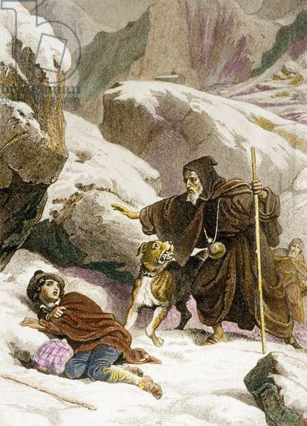 """Monks of the Great St Bernard Pass resucing with their dog, a man in the snow, engraving by Roze after Philippoteaux for 1852 edition of """"Genie du Christianisme"""" by Francois Rene de Chateaubriand"""