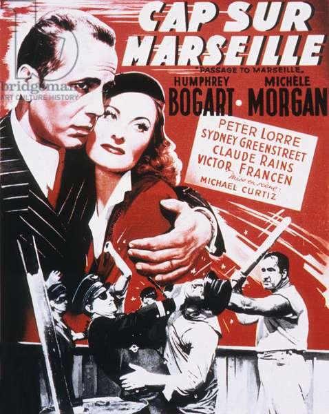 Affiche du film Cap sur Marseille (ou Passage pour Marseille) de MichaelCurtiz avec Humphrey Bogart et Michele Morgan 1944