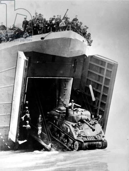 Normandy landings : Armored Divisions of the French Army (equiped with American tanks Sherman M4-A3) with LST (Landing Ship Tank) on August 02, 1944 landing on Utah Beach (in Saint Martin de Vareville) in Normandy