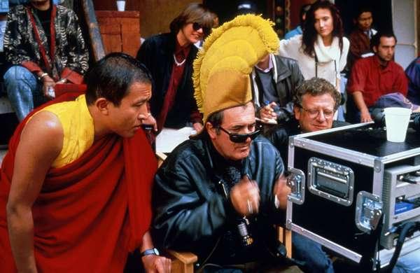 Bernardo Bertolucci on set of film Little Buddha 1993