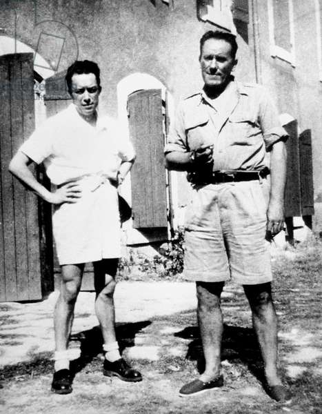 French writers Albert Camus and Rene Char in Isle-sur-la-Sorgue, south of France. Camus visit for the 1st time Char in Isle sur la Sorgue in 1946