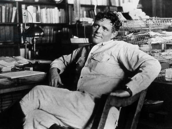 writer Jack London (1876-1916) in 1916