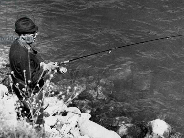 On May 25, 1973, General Francisco Franco fishing in Spain