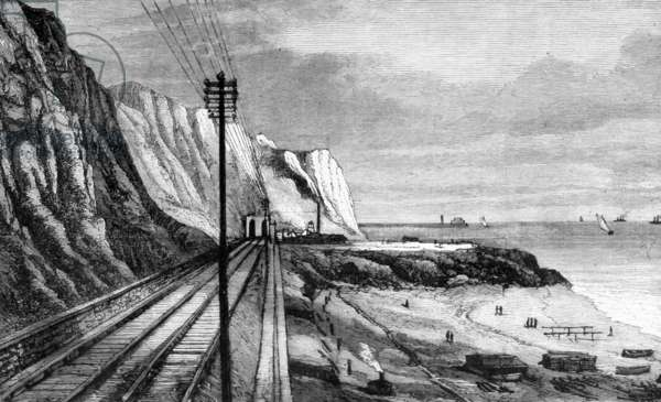 "Works of the Channel Tunnel (1874 project), engraving from ""Les nouvelles conquetes de la science"" by Louis Figuier, 1878"