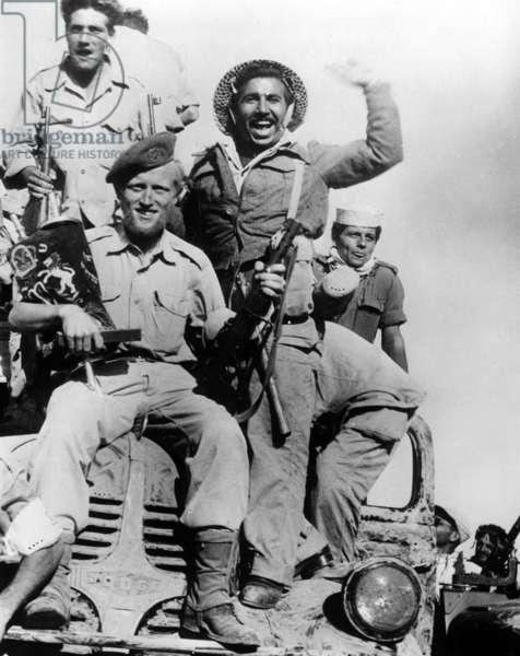 Suez crisis, 1956 : isreali soldiers entering Gaza, November 5, 1956