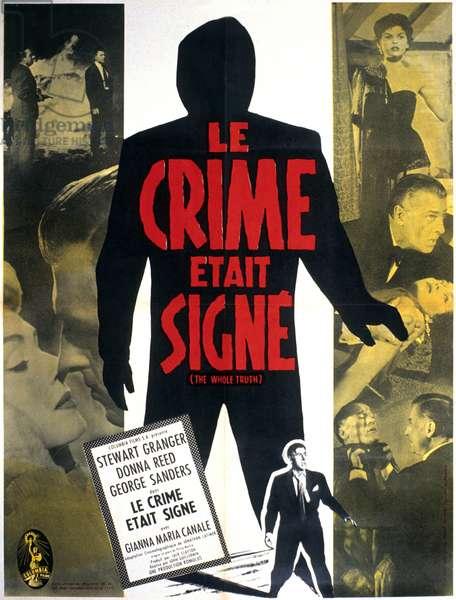 Affiche du film le crime etait signe (The whole truth) de DanCohen et JohnGuillermin avec Stewart Granger et Donna Reed 1958