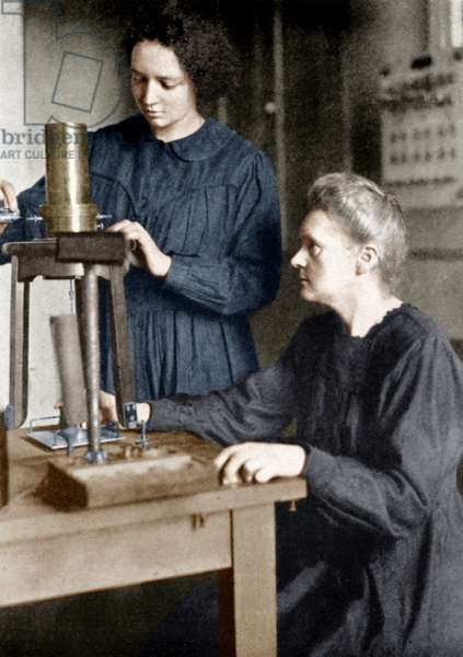 Physicist Marie Curie (1867-1934) and her daughter Irene Joliot Curie (1887-1956) at radium institute in Paris in 1921 colourized document