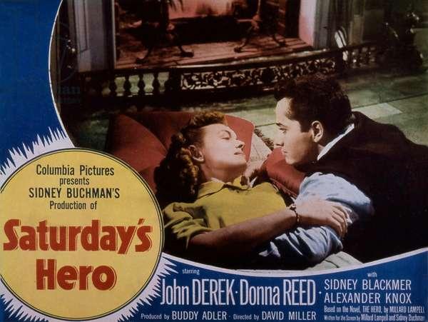 "Affiche du film "" Saturday s hero"" 1951 de DavidMiller avec John Derek et Donna Reed"