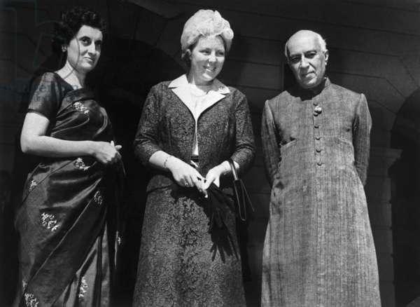 Indira Gandhi with Princess Beatrix of the Netherlands, Jawaharlal Nehru November 1962