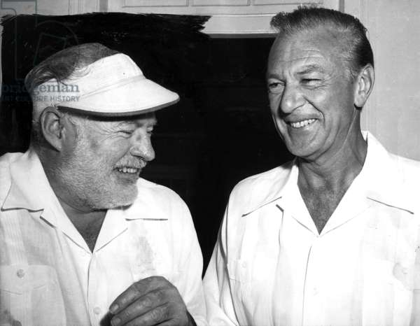 Ernest Hemingway (1899-1961) and Gary Cooper in Havana in 1956