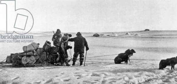 Admiral Robert Edwin Peary (1856-1920) American explorer of north pole, here during his 1st exploration by dog sled in 1909