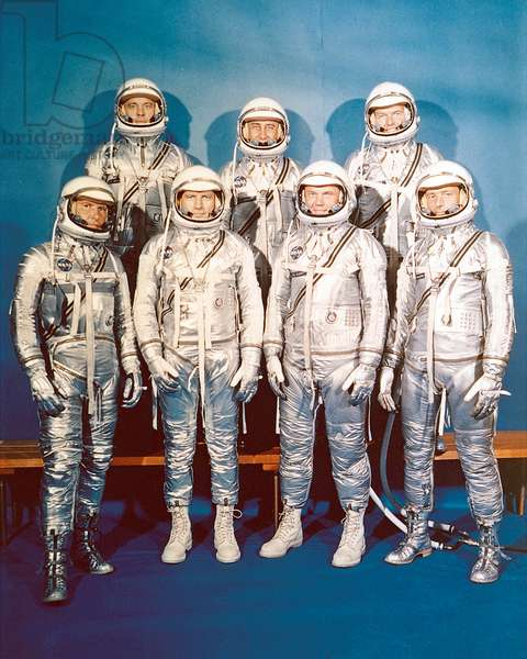 Project Mercury Astronauts, whose selection was announced on April 9, 1959, only six months after the National Aeronautics and Space Administration was formally established on October 1, 1958. They are: front row, left to right, Walter H. Schirra, Jr., Donald K. Slayton, John H. Glenn, Jr., and Scott Carpenter; back row, Alan B. Shepard, Jr., Virgil I. Gus Grissom, and L. Gordon Cooper.