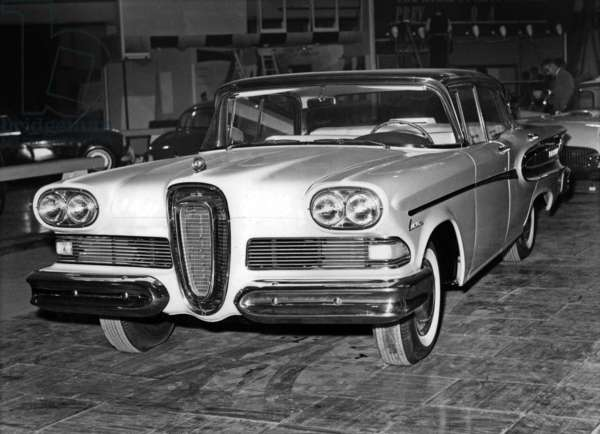 International Motor Show in Earls Court, London, October 1957 : a car : Ford Edsel